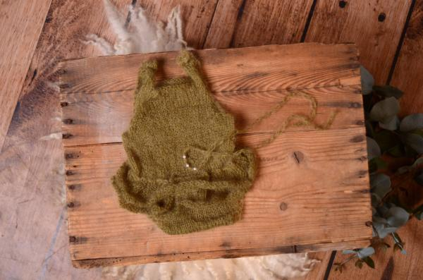 Olive green ruffled mohair bodysuit and headband