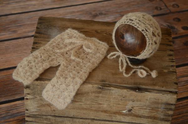 Offenes Set aus Angora - beige