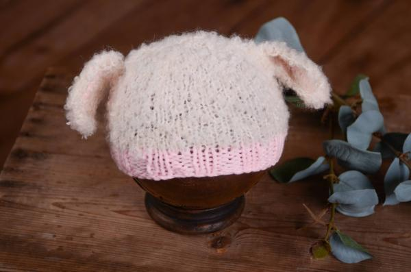 Beige and pink sheep ears hat