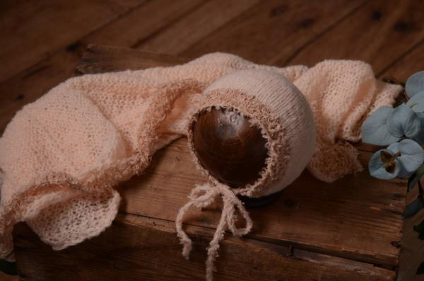 Salmon pink mohair wrap and hat fantasy set