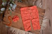 Set de encaje pantalón y diadema coral
