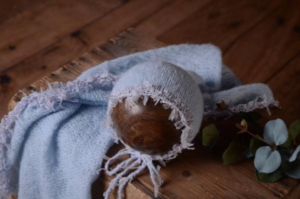 Set wrap e berretto di angora fantasia azzurro bimbo