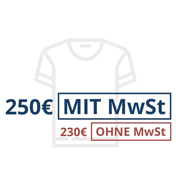Preise MIT und OHNE MwSt