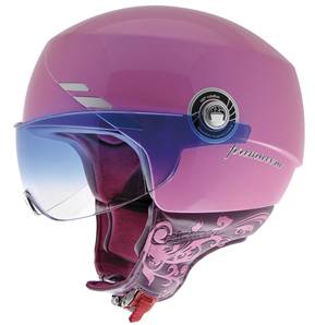 NZI - Casque Moto, Scooter Demi-Jet - PRIMAVERA - Rose brillant