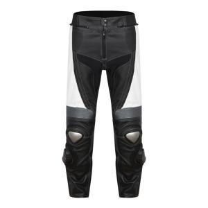 Pantalon de Moto Homme Road Pants Rider-Tec Cuir Noir& Blanc