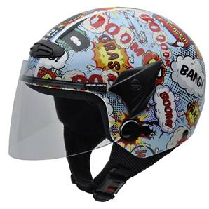 NZI - Casque Moto, Scooter Demi-Jet - HELIX II JR GRAPH - Multicolore brillant