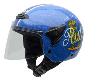 NZI - Casque Moto, Scooter Demi-Jet - HELIX II JR GRAPH - Bleu brillant