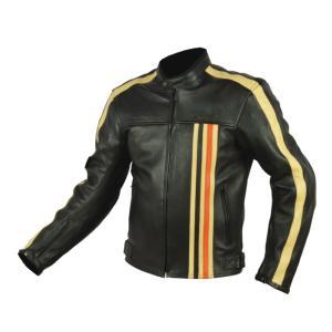 Blouson de Moto Homme Vintage Rider-Tec Cuir Noir & Orange