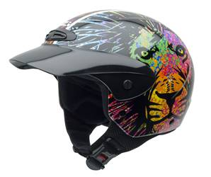 NZI - Casque Moto, Scooter Demi-Jet - SINGLE JR GRAPHIC - Multicolore brillant