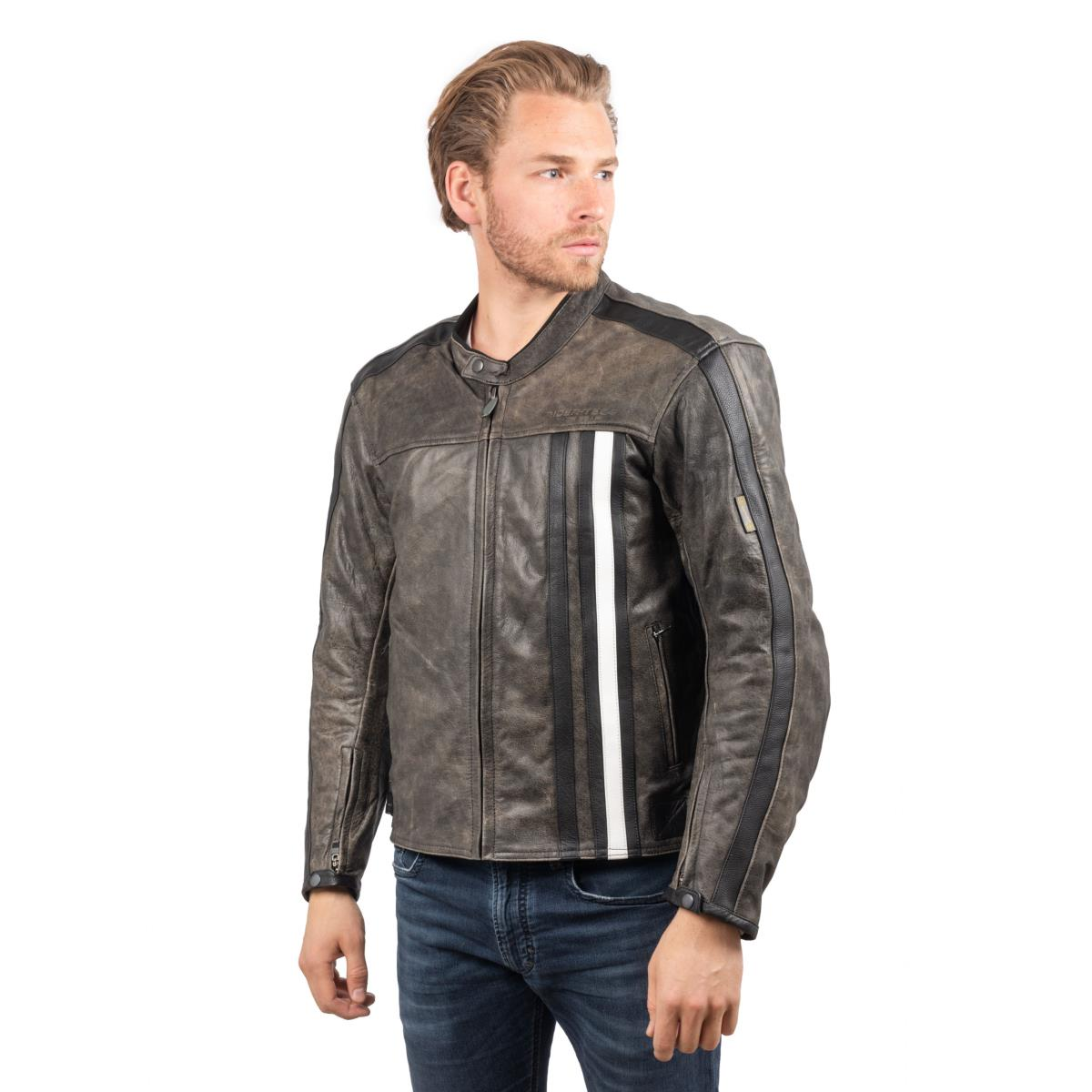 Blouson de Moto Homme Rétro Rider-Tec Cuir Gris & Blanc