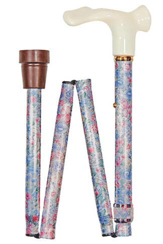 Anatomical Right Handed Muted Floral Folding Walking Cane