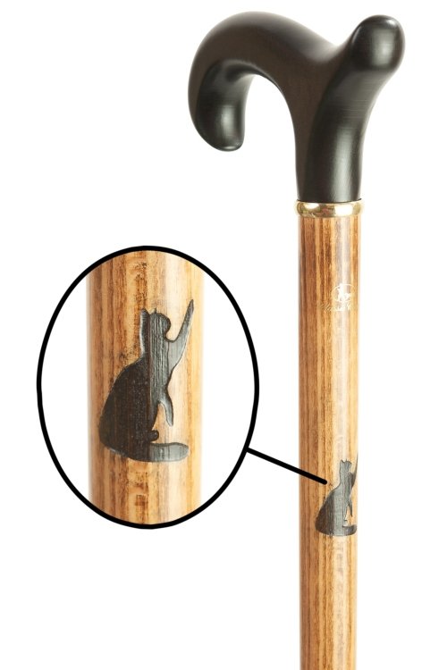 Beech Derby Walking Cane with Engraved Cat Motif