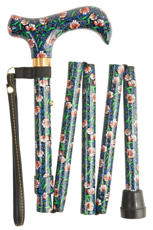 Folding Walking Stick - 5 Sections - All-Over Morris Pattern