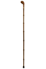 Wooden Handled Pistol Grip Walking Cane with Bamboo Shaft