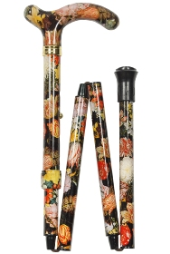 National Gallery Petite Adjustable Folding Cane - Bosschaert Floral