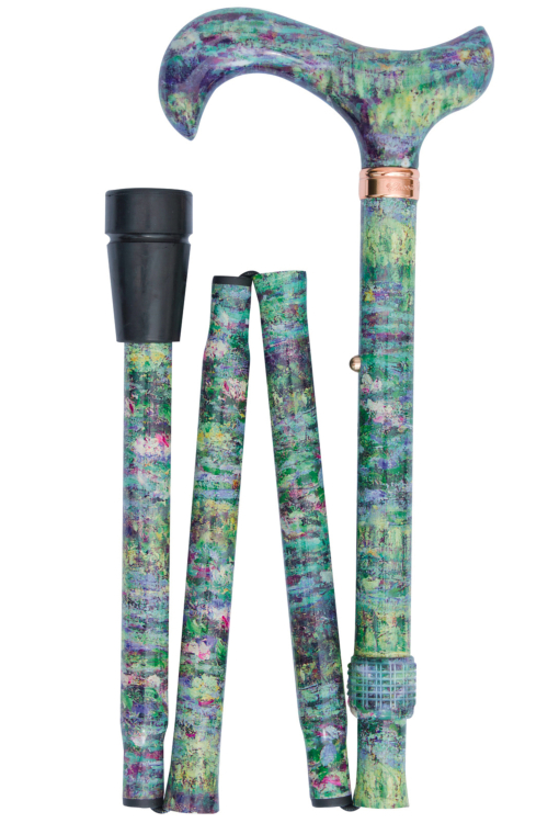 National Gallery Derby Folding Walking Stick - Water Lily Pond by Monet