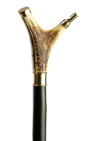 Handmade Staghorn Thumbstick with Brass Whistle