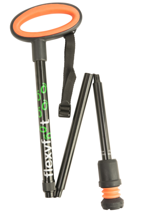Flexyfoot Folding Stick with Easygrip Handle - Black