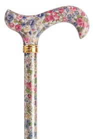 Tea Party Adjustable Walking Stick - Muted Floral