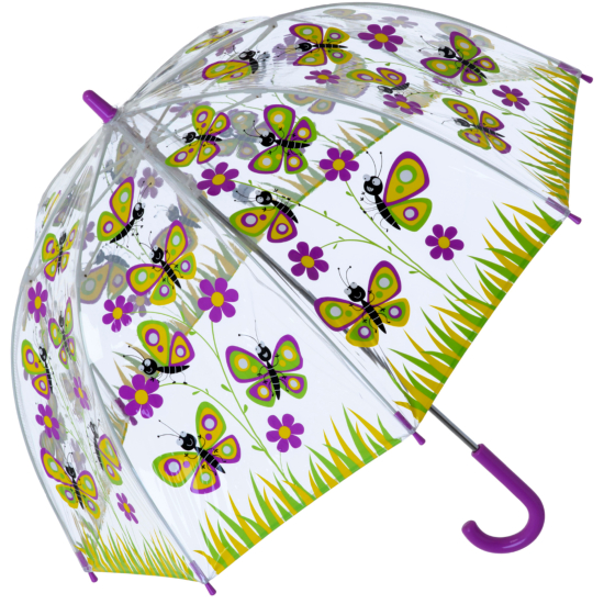 Bugzz PVC Dome Umbrella for Children (New Design) - Butterfly Daisy Meadow