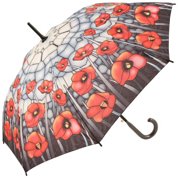 Galleria Art Print Walking Length Umbrella - Stained Glass Poppies