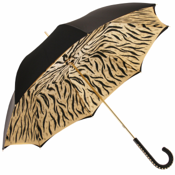 Glamour Black Tiger Golden Studs Luxury Double Canopy Umbrella by Pasotti