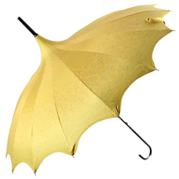 Boutique Patterned UVP Pagoda Umbrella with Scalloped Edge - Yellow