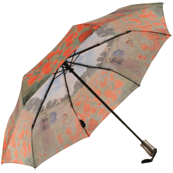 Galleria Art Print Auto Open & Close Folding Umbrella - Field of Poppies by Monet