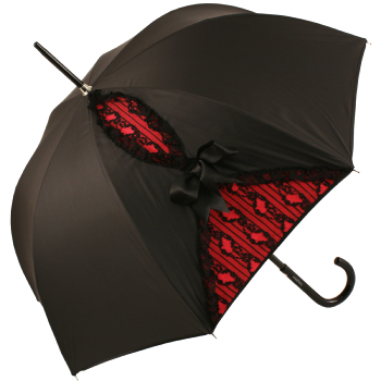 Big Bow Umbrella in Black and Lace on Red by Chantal Thomass