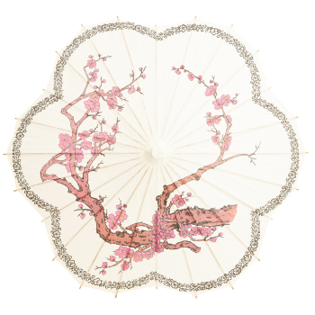 Chinese Paper and Bamboo Parasol - Scalloped Cherry Blossom