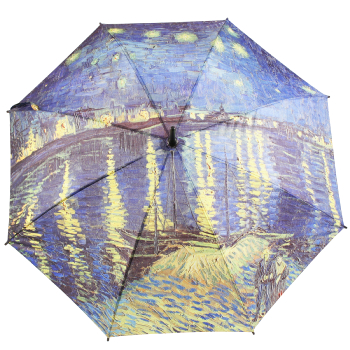 Galleria Art Print Walking Length Umbrella - Van Gogh's Starry Night over the Rhone