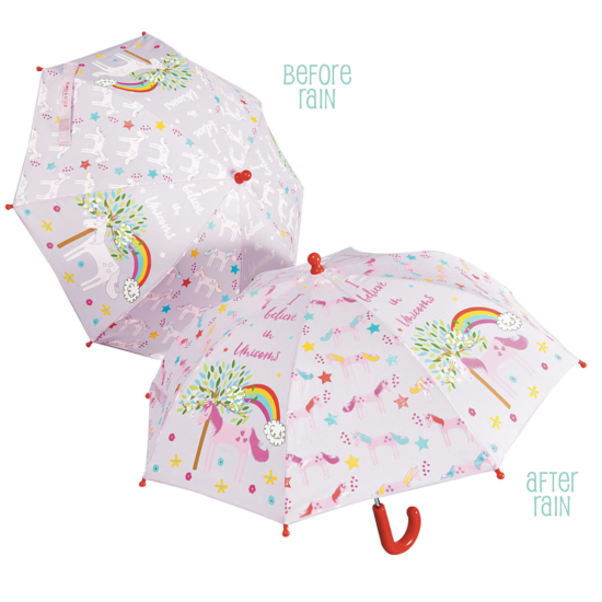 Colour Changing Childrens Umbrella - I Believe in Unicorns