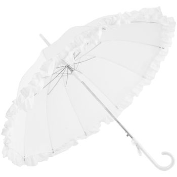 Ex Hire - Lisbeth White Flounce Pagoda Umbrella by Chrysalin