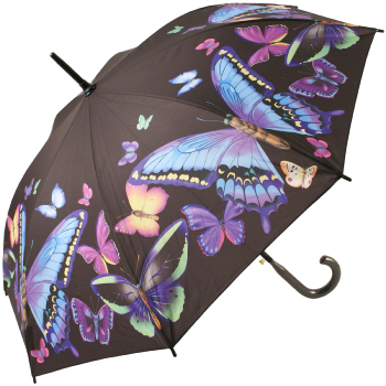 Galleria Art Print Walking Length Umbrella - Moonlight Butterfly