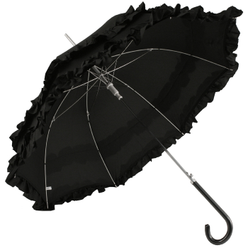 Black Pagoda Umbrella with Double Flounce Frill by Molly Marais