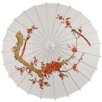 Chinese Paper and Bamboo Parasol - White Cherry Blossom