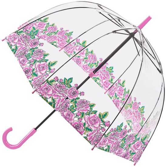 Fulton Birdcage Clear Dome Umbrella - Coming Up Roses