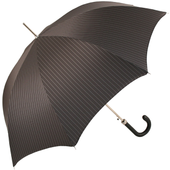 Luxury Gents Grey Pinstripe Umbrella with Leather Handle by Pasotti