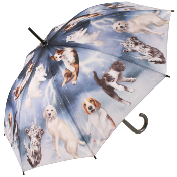 Galleria Art Print Walking Length Umbrella - Raining Cats & Dogs