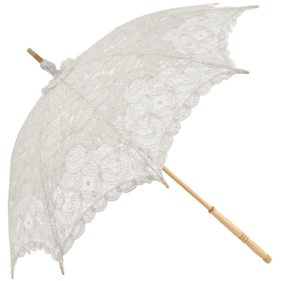 Emma - Battenberg Lace Parasol in White