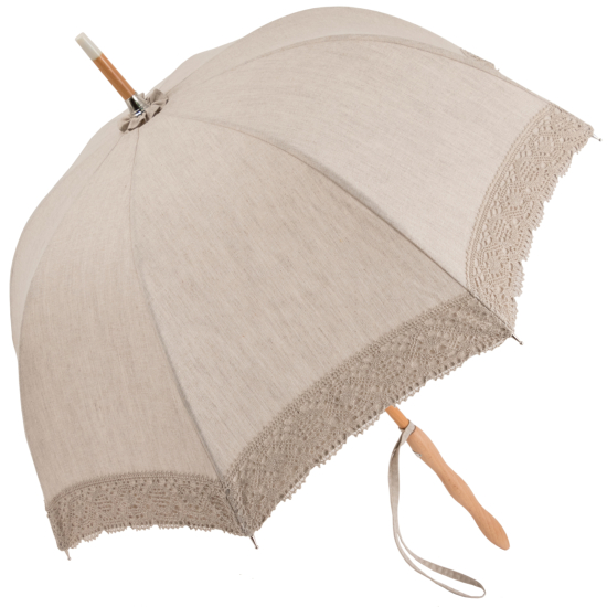 Camille - UVP Beige Parasol with Beige Lace Band by Pierre Vaux