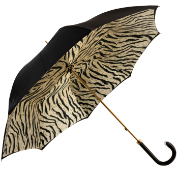 Glamour Black Tiger Luxury Double Canopy Umbrella with Acrylic Handle by Pasotti
