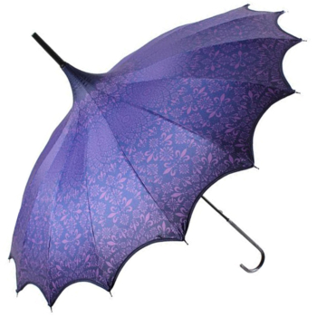 Boutique Patterned UVP Pagoda Umbrella with Scalloped Edge - Purple