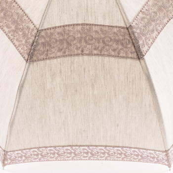 Eleonore - UVP Beige Parasol with Ecru Curl Lace Bands by Pierre Vaux