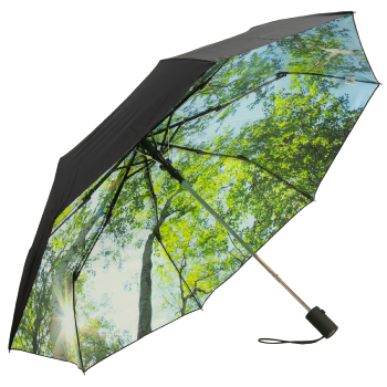 UVP 50+ Auto Open Folding Umbrella with Nature Print - Forest