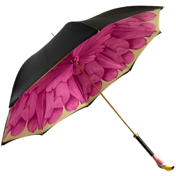Floral Double Canopy Umbrella with Enamelled Flamingo Head Handle by Pasotti
