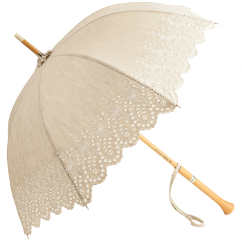 Amelie with Milano Handle - UVP Beige Embroidery Anglaise Parasol by Pierre Vaux