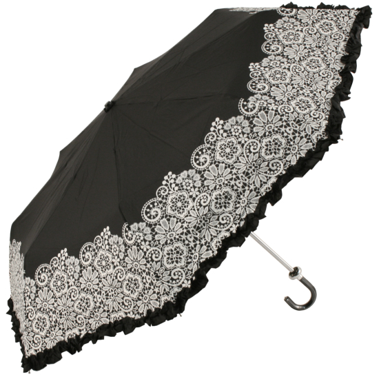 Black Frilly Folding Umbrella with White Lace Effect Canopy by Molly Marais