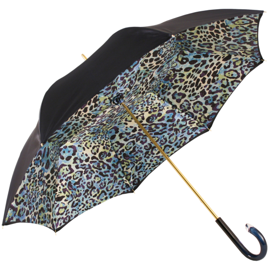 Glamour Leopard Navy Blue Luxury Double Canopy Umbrella by Pasotti